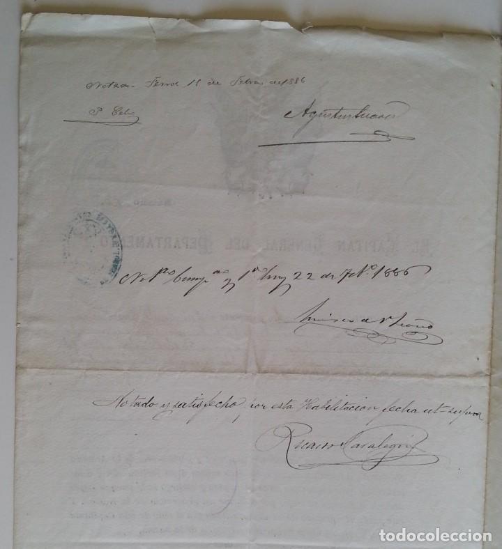 Militaria: FERROL 1886 * El Capitán General concede licencia y pasaporte a militar del Ferrol - Foto 2 - 66871290
