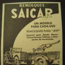 Militaria: REMOLQUES SAICAR, ESPECIAL ARMAMENTO. PUBLICIDAD DE REVISTA DE LOS AÑOS 50. Lote 66953110