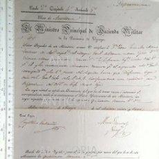 Militaria: MINISTRO PRINCIPAL DE HACIENDA MILITAR DE LA PROVINCIA DE VIZCAYA BILBAO 1837 GUERRA CARLISTA. Lote 67053550