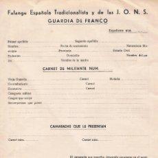 Militaria: SOLICITUD GUARDIA DE FRANCO SIN RELLENAR AÑOS 50 FALANGE ESPAÑOLA RARO ANTIGUO. Lote 67162549