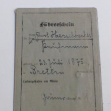 Militaria: FÜHRERSCHEIN. ORIGINAL CARNET DE CONDUCIR DE LA SEGUNDA GUERRA MUNDIAL. 1938. Lote 67240581