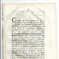Militaria: 1808 NAVARRA GUERRA DE LA INDEPENDENCIA - REAL ORDEN - TRANSPORTE MARÍTIMO - ADUANAS. Lote 67326693