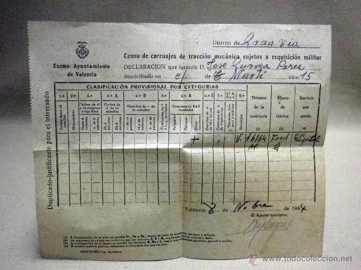 DOCUMENTO, CENSO DE CARRUAJES PARA REQUISICION MILITAR, 1944, GRAN VIA, VALENCIA (Militar - Propaganda y Documentos)