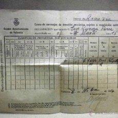 Militaria: DOCUMENTO, CENSO DE CARRUAJES PARA REQUISICION MILITAR, 1944, GRAN VIA, VALENCIA. Lote 67483401