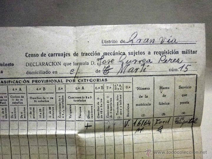 Militaria: DOCUMENTO, CENSO DE CARRUAJES PARA REQUISICION MILITAR, 1944, GRAN VIA, VALENCIA - Foto 2 - 67483401
