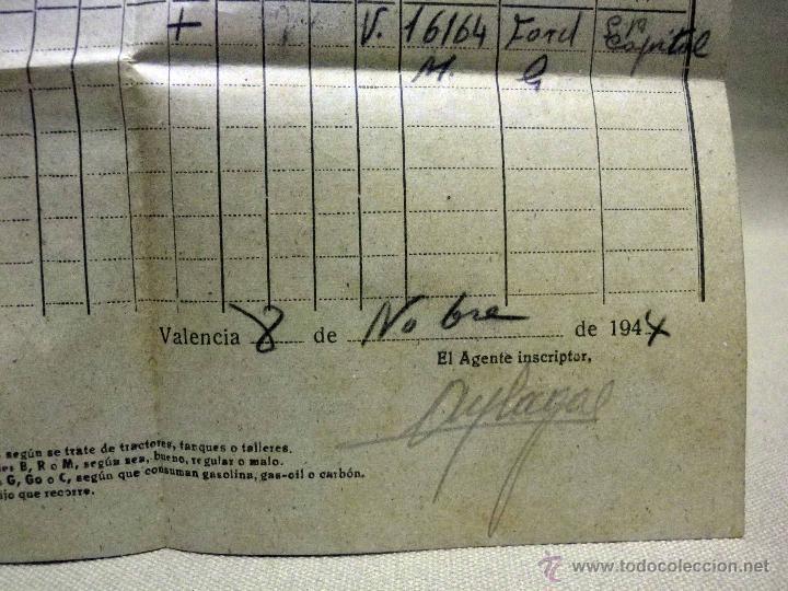 Militaria: DOCUMENTO, CENSO DE CARRUAJES PARA REQUISICION MILITAR, 1944, GRAN VIA, VALENCIA - Foto 3 - 67483401