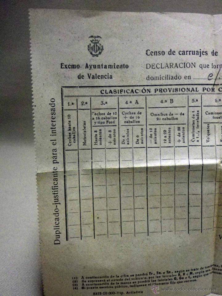 Militaria: DOCUMENTO, CENSO DE CARRUAJES PARA REQUISICION MILITAR, 1944, GRAN VIA, VALENCIA - Foto 4 - 67483401
