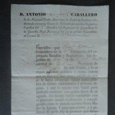 Militaria: GALICIA.ZAS(CORUÑA) CERTIFICADO DE SOLTERIA A FAVOR DE FRANCISCO PARDIÑAS. JACA (HUESCA) 1841. Lote 67749945
