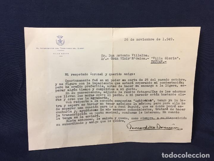 CORREO INTERVENTOR TERRITORIO QUERT VILLA NADOR AFRICA CAMPAÑA 1949 A VILLALBA CORONEL COSTUMBRES 16 (Militar - Propaganda y Documentos)