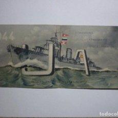 Militaria: EXCEPCIONAL DOCUMENTO. BUQUE ULLOA 1943-44 FELICES PASCUAS COMANDANTES Y OFICIALES. Lote 68969049