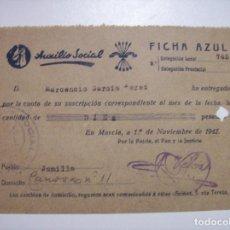 Militaria: AUXILIO SOCIAL FICHA AZUL 1942. Lote 68989297