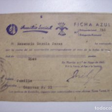 Militaria - AUXILIO SOCIAL FICHA AZUL 1943 - 68989341