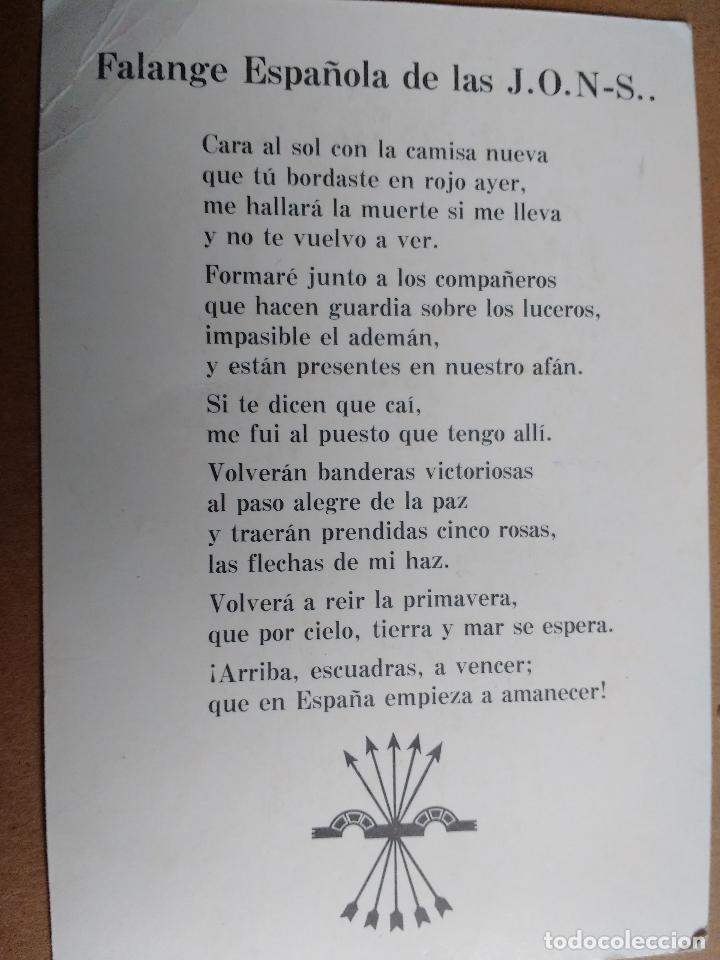 Militaria: FALANGE ESPAÑOLA, JOSE ANTONIO PRIMO DE RIVERA, CARA AL SOL EN EL REVERSO. - Foto 2 - 69921685