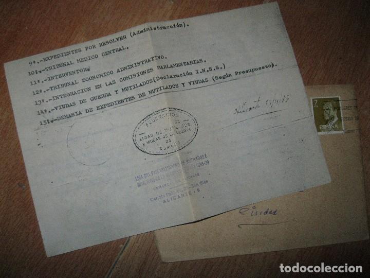 SOBRE Y CARTA LIGA PAIS VALENCIANO MUTILADOS GUERRA CIVIL ESPAÑA 1936 39 ALICANTE SAN BLAS (Militar - Propaganda y Documentos)