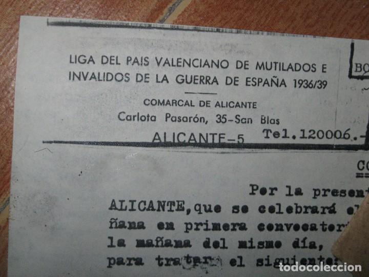Militaria: sobre y carta LIGA PAIS VALENCIANO MUTILADOS GUERRA CIVIL ESPAÑA 1936 39 ALICANTE SAN BLAS - Foto 3 - 70058425