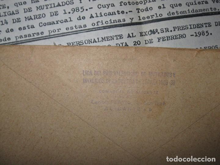 Militaria: sobre y carta LIGA PAIS VALENCIANO MUTILADOS GUERRA CIVIL ESPAÑA 1936 39 ALICANTE SAN BLAS - Foto 7 - 70058425