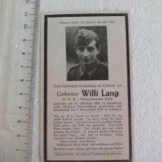 Militaria: ANTIGUO RECORDATORIO DE LA MUERTE SOLDADO ALEMÁN, MUERTO HERIDO EN COMBATE EN 1944 EN LETTLAND WW2. Lote 70191725