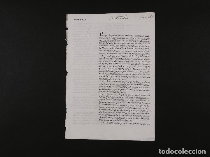 LIBRAMIENTO DE PÓLVORA, BALAS... EL PARDO 1806 (Militar - Propaganda y Documentos)
