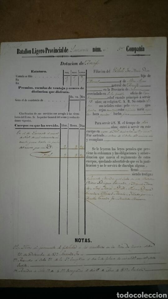 FILIACIÓN CANARIAS 1857 (Militar - Propaganda y Documentos)