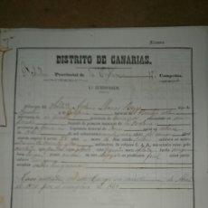 Militaria: FILIACION CANARIAS 1869. Lote 72948678