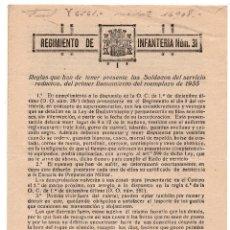 Militaria: REGLAS QUE HA DE TENER PRESENTE LOS SOLDADOS DEL SERVICIO, REEMPLAZO 1933- REG, INF 31 REPÚBLICA. Lote 73584563