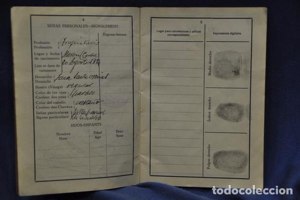 Militaria: Pasaporte del Teniente Coronel Cristóbal Fernández Valdés, juez instructor en Barcelona,. 1929. - Foto 4 - 74713623