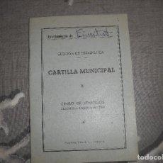 Militaria: CARTILLA CENSO VEHICULOS SUJETOS REQUISA MILITAR RENAULT AYUNTAMIENTO FINESTRAT. Lote 75096531
