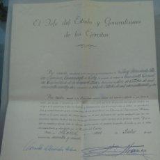 Militaria: CABALLERIA : ASCENSO A TENIENTE CORONEL . FIRMA DE FRANCO . 1965. Lote 75422035