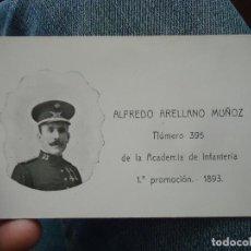 Militaria: TARJETA MILITAR ACADEMIA DE INFANTERIA 1893 - FOTOGRAFIA MEDALLA - UNIFORME - ALFREDO ARELLANO MUÑOZ. Lote 75966907