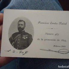 Militaria: TARJETA MILITAR ACADEMIA DE INFANTERIA 1893 - FOTOGRAFIA MEDALLA - FRANCISCO CANTOS NADAL. Lote 76090651
