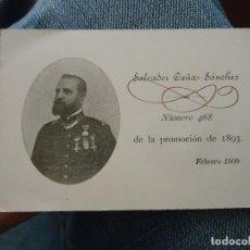 Militaria: TARJETA MILITAR ACADEMIA DE INFANTERIA 1893 - FOTOGRAFIA MEDALLA - SALVADOR CAÑAS SANCHEZ. Lote 76090995