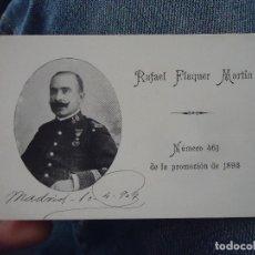 Militaria: TARJETA MILITAR ACADEMIA DE INFANTERIA 1893 - FOTOGRAFIA MEDALLA - RAFAEL FLAQUER MARTIN. Lote 76091151