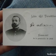 Militaria: TARJETA MILITAR ACADEMIA DE INFANTERIA 1893 - FOTOGRAFIA MEDALLA - JULIAN GIL TERRADILLOS. Lote 76092143