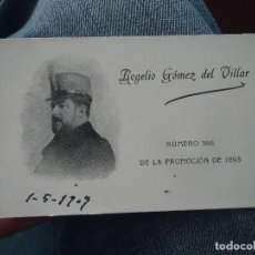Militaria: TARJETA MILITAR ACADEMIA DE INFANTERIA 1893 - FOTOGRAFIA MEDALLA - ROGELIO GOMEZ DE VILLAR. Lote 76092715