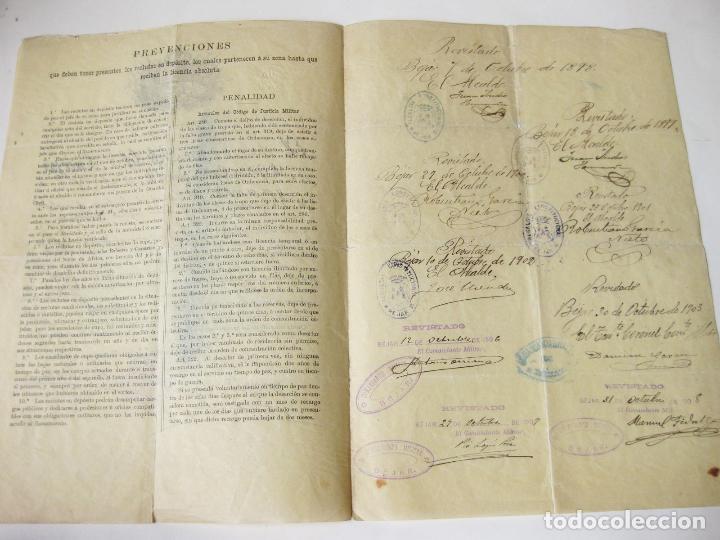 Militaria: CARTA DEL EJERCITO DE UN RECLUTA EXCEPTUADO DEL SERVICIO MILITAR. SALAMANCA 1898 - Foto 3 - 76158271