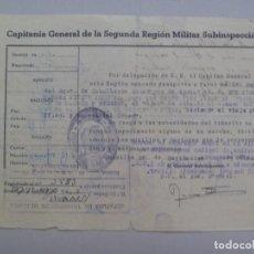Militaria: CAPITANIA GENERAL 2ª REGION: PASAPORTE CAPITAN CABALLERIA PARA CURSO . SWEVILLA, 1952. Lote 76696299