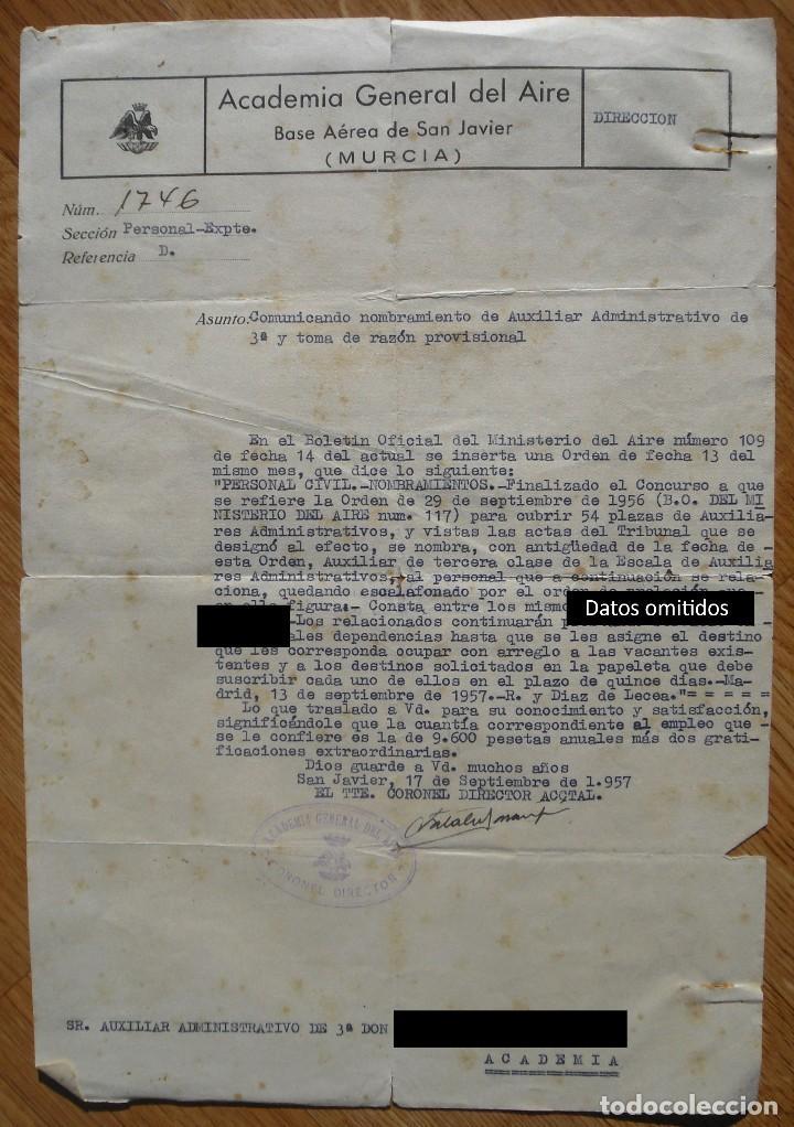 ACADEMIA GENERAL DEL AIRE. COMUNICADO. NOMBRAMIENTO. SAN JAVIER. MURCIA. 1957. (Militar - Propaganda y Documentos)