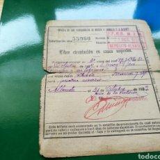 Militaria: RARÍSIMO SALVOCONDUCTO PARA LIBRE CIRCULACIÓN EN FERROCARILES. ALBACETE. 1939. Lote 76755746