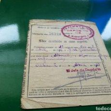 Militaria: RARÍSIMO SALVOCONDUCTO PARA LIBRE CIRCULACIÓN EN FERROCARILES. ALBACETE. 1939. Lote 76755874