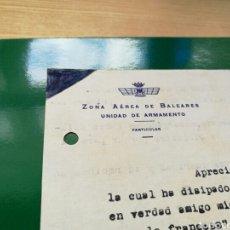 Militaria: DOCUMENTO DE LA ZONA AÉREA DE BALEARES. PALMA DE MALLORCA. 1946. Lote 76760987