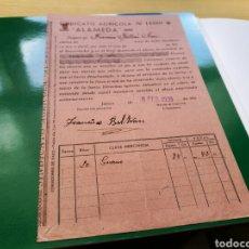 Militaria: RECIBO DE LA SOCIEDAD AGRÍCOLA ALAMEDA DE JATIVA (VALENCIA). 1939. GUERA CIVIL. Lote 76761158