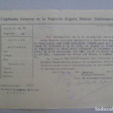 Militaria: CAPITANIA GENERAL 2ª REGION: PASAPORTE COMANDANTE CABALLERIA A LUGO DRAGONES TALAVERA. SEVILLA, 1955. Lote 76796519