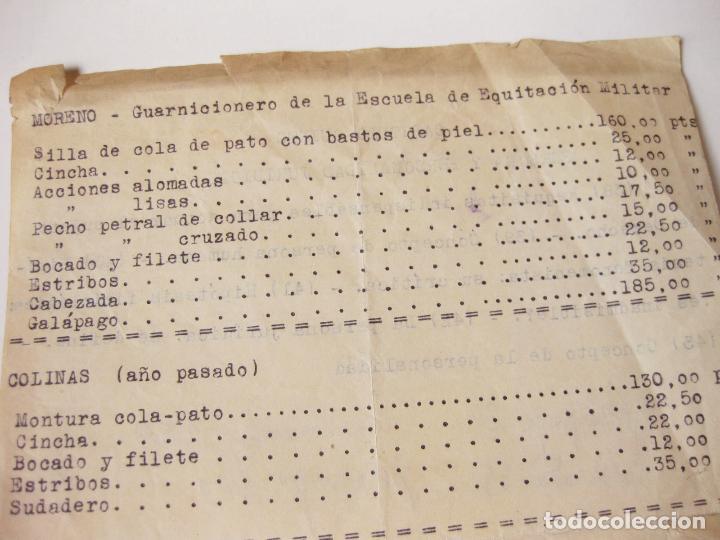Militaria: HOJA DE TARIFAS DEL GUARNICIONERO MORENO DE LA ESCUELA DE EQUITACION MILITAR - Foto 2 - 77176301