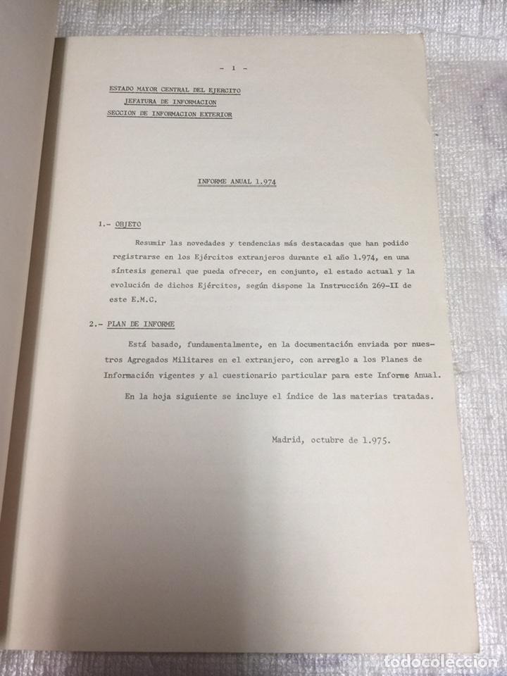 Militaria: INFORME ANUAL SOBRE EJERCITOS EXTRANJEROS. ESTADO MAYOR DEL EJERCITO.INFORMACIÓN LIMITADA. 1974 - Foto 2 - 77432271