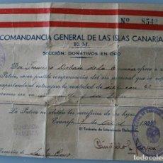 Militaria: ANTIGUO RECIBO DOCUMENTO CERTIFICADO DONATIVOS EN ORO COMANDANCIA GENERAL ISLAS CANARIAS AÑO 1937 . Lote 77746237