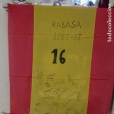 Militaria: BANDERA ESPAÑOLA IMEC 87 RABASA.FIRMADA 114X87 CMS. Lote 78344453