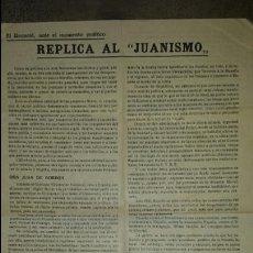 Militaria: CARLISMO EL REQUETE ANTE EL MOMENTO POLITICO. REPLICA AL JUANISMO.1945. PANFLETO PROPAGANDA MILITAR. Lote 78878426