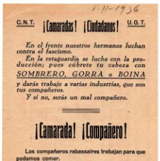Militaria: PROPAGANDA REPUBLICANA -C.N.T - U.G.T - GUERRA CIVIL. Lote 80211517