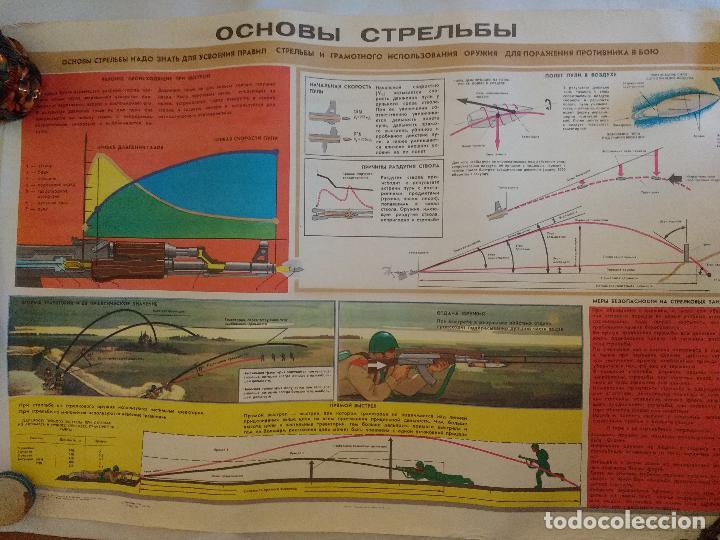 GRAN CARTEL ORIGINAL IMPRESO EN LA ANTIGUA URSS, GUERRA FRIA AÑO 80, MANIOBRAS DE TIRO. (Militar - Propaganda y Documentos)