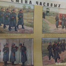 Militaria: CARTEL ORIGINAL IMPRESO EN LA ANTIGUA URSS, GUERRA FRIA AÑO 80, VIGILANCIA Y RELEVOS EN FORMACION. Lote 80310497